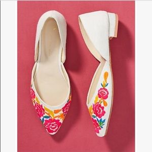 Anthropologie Dorsay Flats with floral det size 10